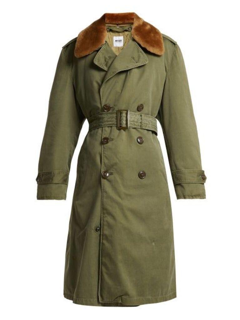 Myar - Double Breasted Wool Blend Gabardine Coat - Womens - Khaki