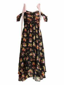 Preen Line - Dehebra Ruched Floral Print Georgette Dress - Womens - Black Print