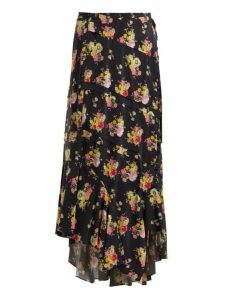 Preen Line - Sibyll Floral Print Crepe De Chine Midi Skirt - Womens - Black Print