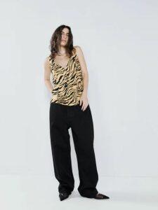 Prada - Banana And Dahlia Print Sleeveless Dress - Womens - Yellow Print