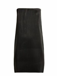 Versace - Strapless Pleated Leather Mini Dress - Womens - Black