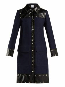 Sonia Rykiel - Stud Embellished Wool Blend Coat - Womens - Navy