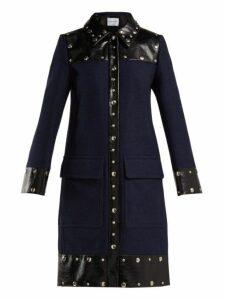 Sonia Rykiel - Stud Embellished Wool Blend Coat - Womens - Navy