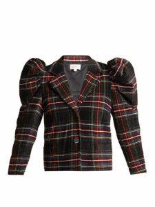 Isa Arfen - Puff Sleeve Tartan Wool Chenille Blazer - Womens - Multi