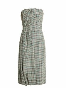 Prada - Houndstooth Checked Wool Blend Strapless Dress - Womens - Green Multi
