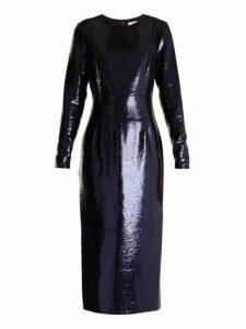 Diane Von Furstenberg - Round Neck Sequin Embellished Dress - Womens - Navy