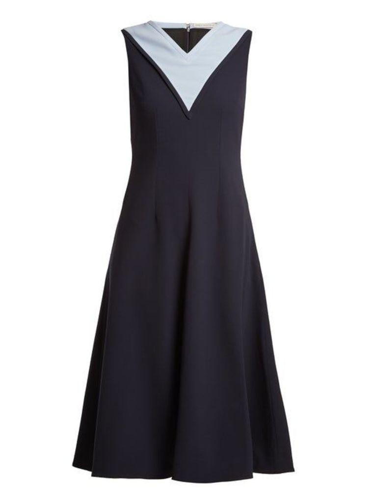 Emilia Wickstead - Arlene Contrast Panel Stretch Crepe Dress - Womens - Navy