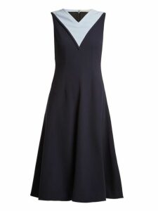 Emilia Wickstead - Arlene Contrast Panel Stretch Crepe Dress - Womens - Navy