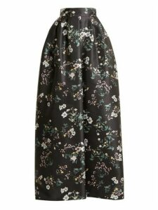 Rochas - Bouquet Print Duchess Satin Skirt - Womens - Black Print