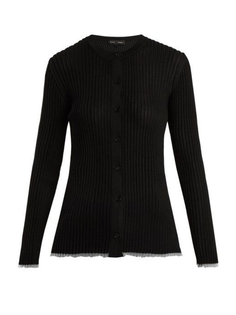 Proenza Schouler - V Neck Ribbed Knit Cardigan - Womens - Black