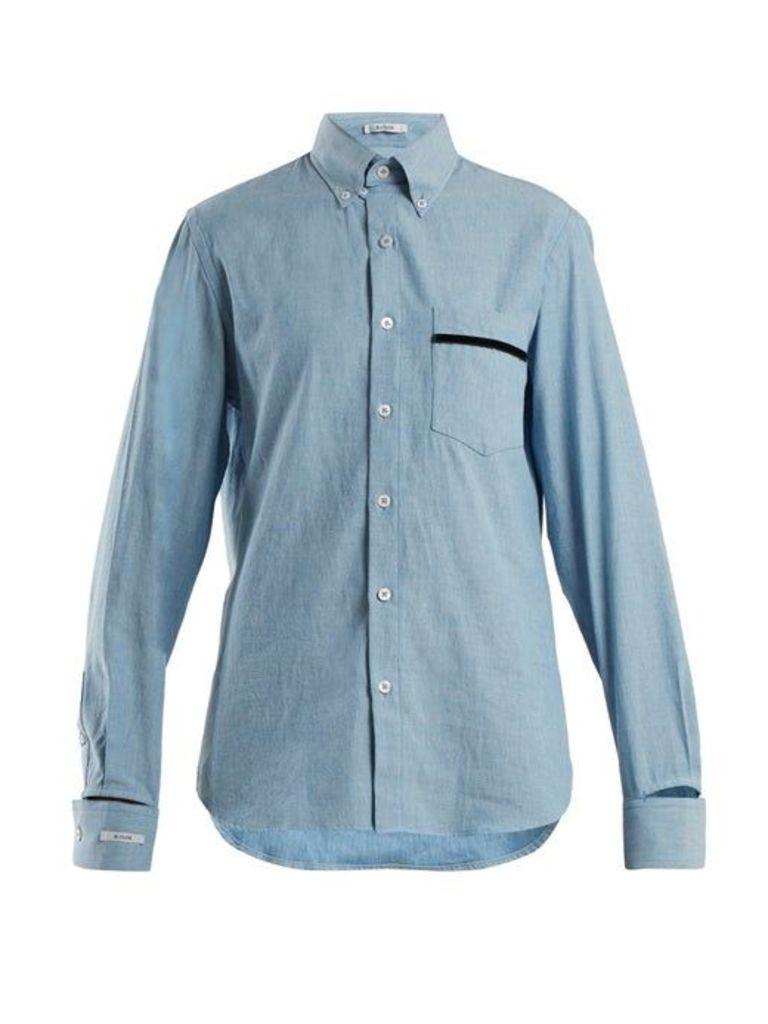 Blouse - Novus Patch Pocket Cotton Shirt - Womens - Light Blue