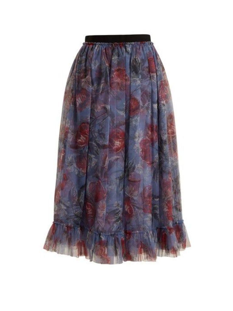 Erdem - Clio Ellington Peony Print Tulle Skirt - Womens - Purple Print