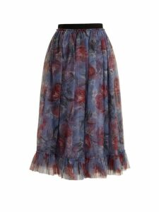 Erdem - Clio Ellington Peony Print Tulle Skirt - Womens - Purple Print