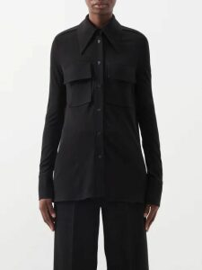 Maria Lucia Hohan - Gwen Deep V Neck Pleated Lamé Gown - Womens - Multi