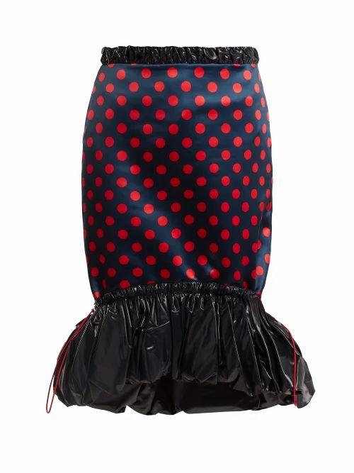Mary Katrantzou - Hazel Polka Dot Print Satin Skirt - Womens - Red Navy
