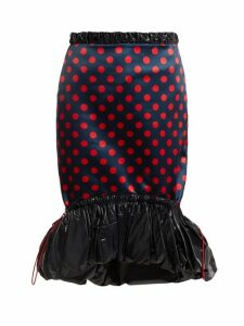 Mary Katrantzou - Hazel Polka Dot Print Satin Skirt - Womens - Red Navy