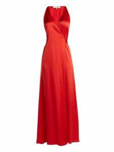Diane Von Furstenberg - Satin Wrap Dress - Womens - Red