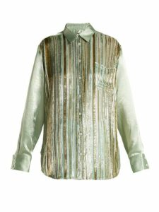 Sies Marjan - Sander Velvet Stripe Silk Blend Shirt - Womens - Light Green