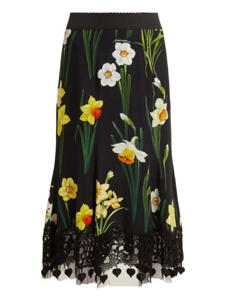 Dolce & Gabbana - Daffodil Print Cady Midi Skirt - Womens - Black Multi