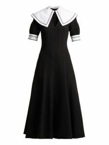 Emilia Wickstead - Sabine Short-sleeved Wool-crepe Midi Dress - Womens - Black