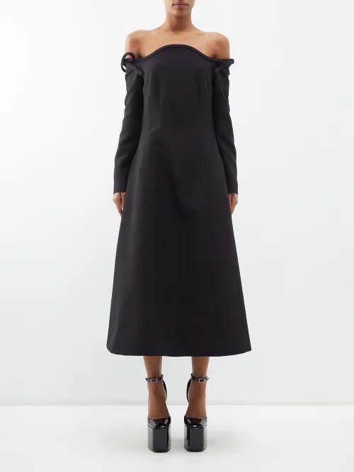 A.w.a.k.e. Mode - Cotton Blend Midi Skirt - Womens - Navy