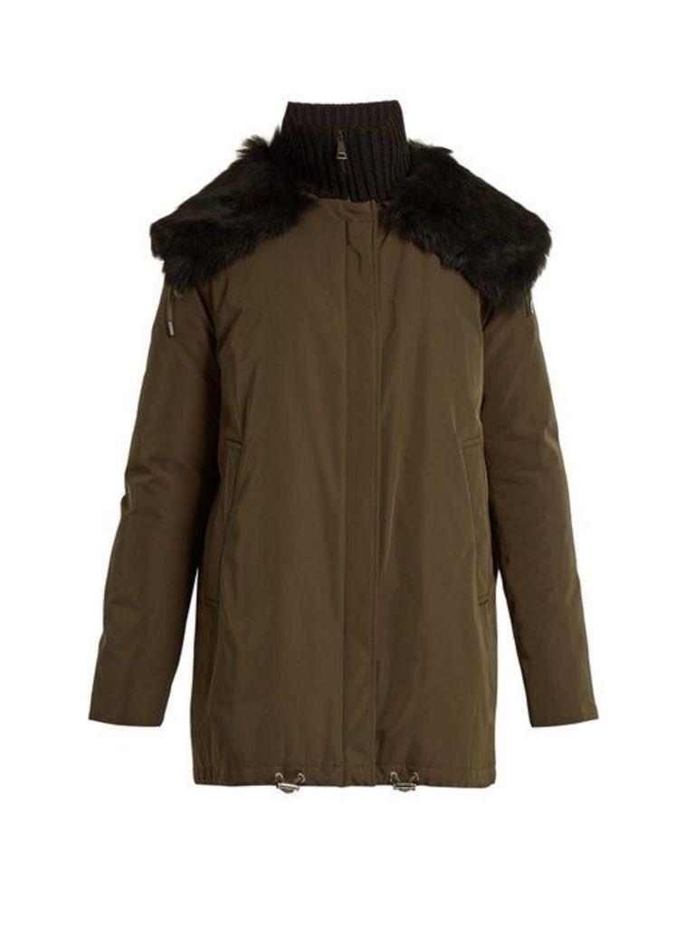 Moncler - Agapanthus Fur Trimmed Down Filled Parka - Womens - Khaki