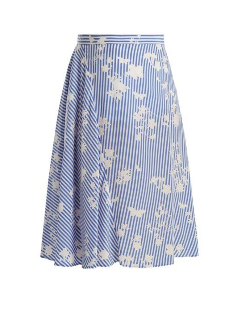 Altuzarra - Sundew Stripe Print Fluted Silk Skirt - Womens - Blue White