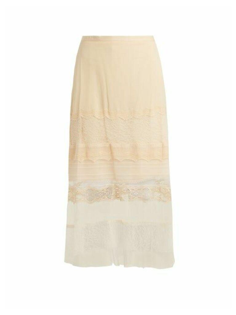 Jonathan Simkhai - Lace Panel Silk Georgette Skirt - Womens - Cream