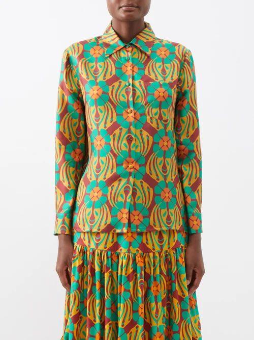 Valentino - Cowl Neck Contrast Stitch Silk Cady Gown - Womens - Navy