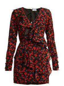 Raquel Diniz - Anna Floral Print Silk Crepe Dress - Womens - Black Red