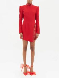 The Attico - Pat Hound's Tooth Checked Satin Wrap Dress - Womens - Black Red Print