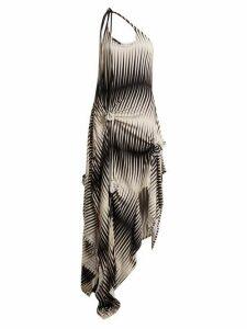 Jw Anderson - One Shoulder Asymmetric Printed Jersey Dress - Womens - Black White