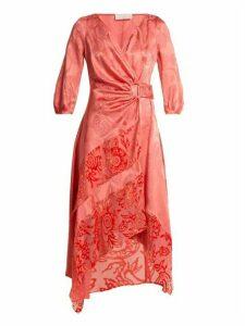 Peter Pilotto - Floral Jacquard Satin Wrap Dress - Womens - Pink
