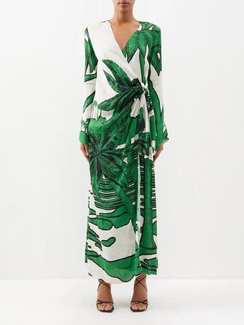 Isa Arfen - Asymmetric Ruched Cotton Wrap Top - Womens - Light Blue