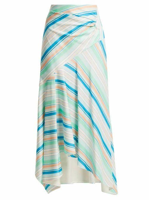 Peter Pilotto - Striped Asymmetric Jersey Skirt - Womens - Green Multi