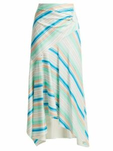 Peter Pilotto - Striped Asymmetric Jersey Skirt - Womens - Green Multi