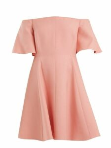 Valentino - Off Shoulder Silk Crepe Dress - Womens - Pink