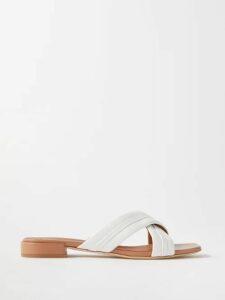 Raquel Diniz - Kim Off The Shoulder Floral Print Gown - Womens - Blue Print