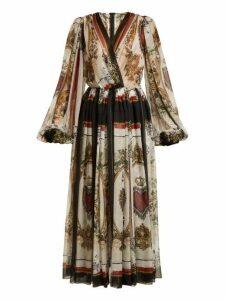 Dolce & Gabbana - Queen Of Hearts And Floral Print Silk Dress - Womens - Multi