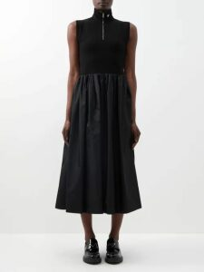 Vita Kin - Country Bird And Floral Embroidered Linen Dress - Womens - Dark Green