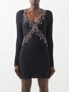 Redvalentino - Floral Embroidered Cotton Mesh Dress - Womens - Black Multi