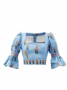 Gucci - Lace Trimmed Ruffle Cotton Chambray Blouse - Womens - Light Blue