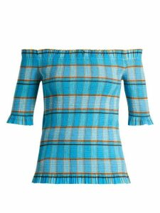 Diane Von Furstenberg - Horizon Checked Off The Shoulder Top - Womens - Blue Print