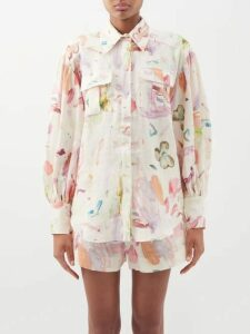 Diane Von Furstenberg - Single Breasted Twill Blazer - Womens - Silver
