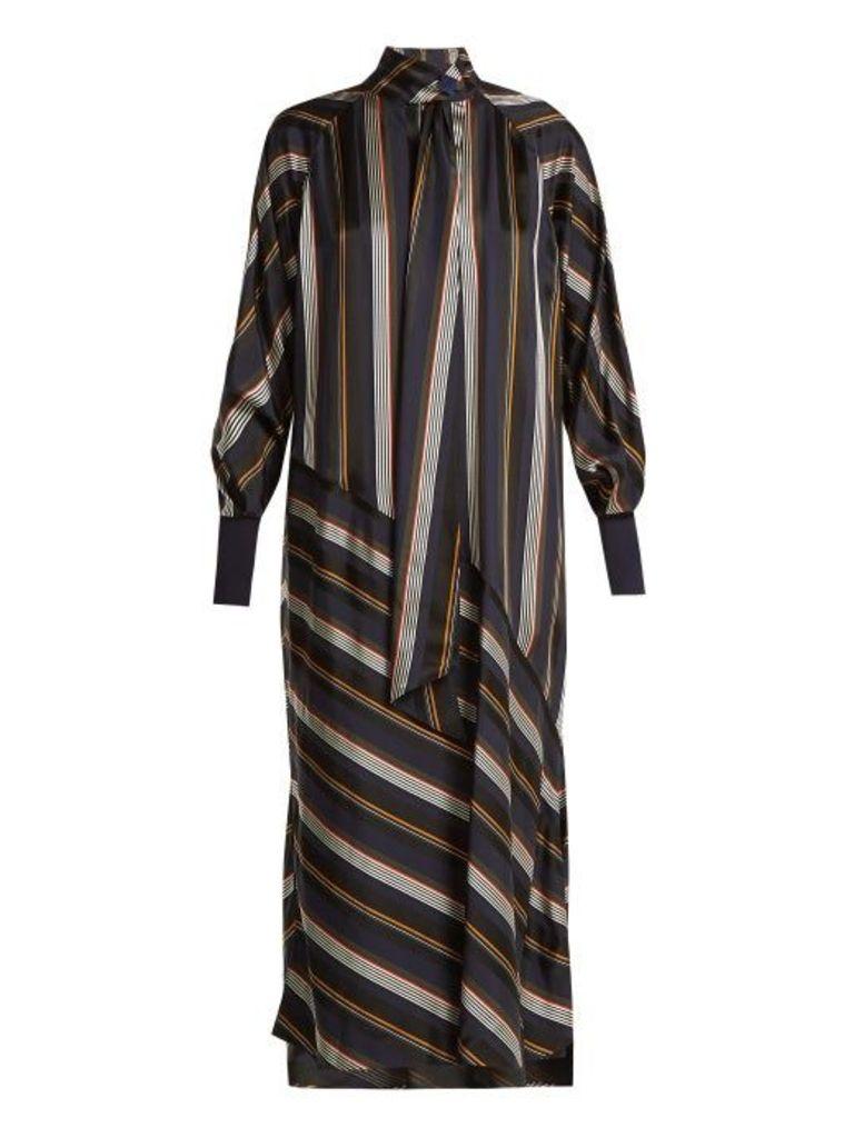 Roksanda - Odelle Striped Satin Dress - Womens - Green Multi