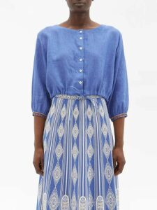 Roksanda - Kamri Silk Coat - Womens - Navy