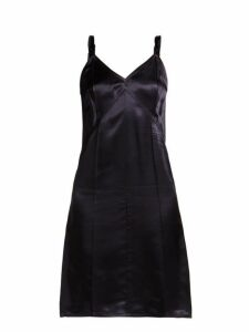 Helmut Lang - V Neck Satin Slip Dress - Womens - Navy