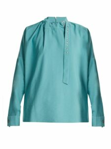 Tibi - Buckled Neck Twill Blouse - Womens - Blue