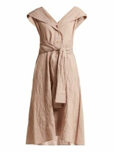Sies Marjan - Olive Striped Cotton Blend Dress - Womens - Dark Orange