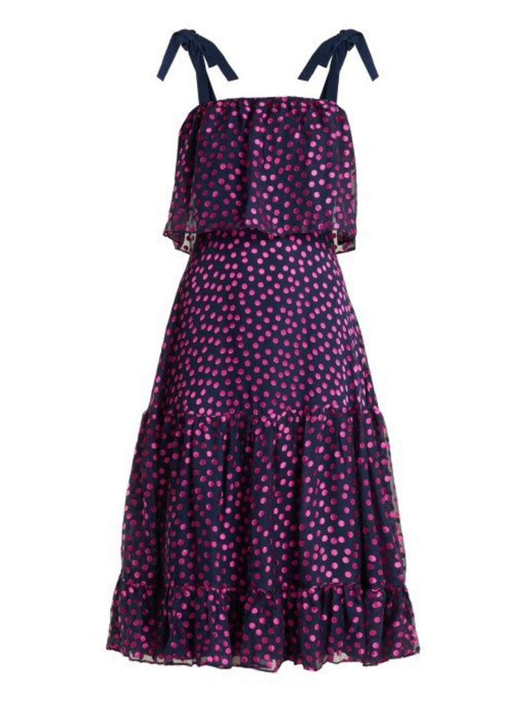 Saloni - Jessie Polka Dot Devoré Silk Blend Dress - Womens - Navy Multi